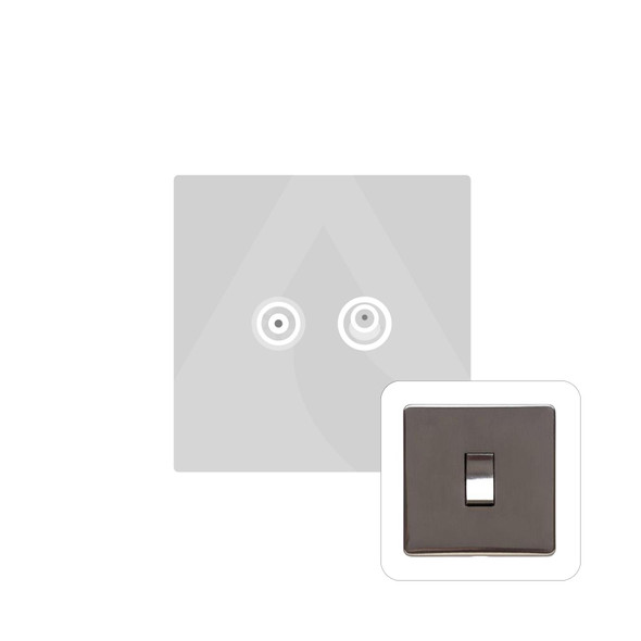 Studio Range TV/Satellite Socket in Polished Bronze - Black Trim - Y07.226.BK