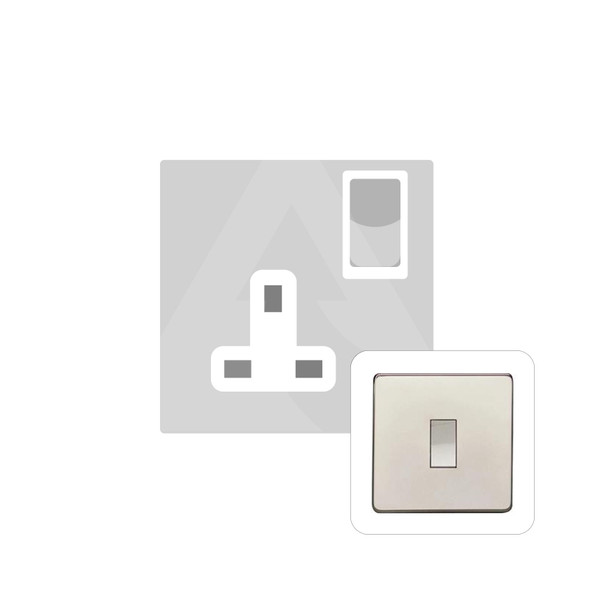 Studio Range Single Socket (13 Amp) in Polished Nickel - White Trim - Y08.240.PNW