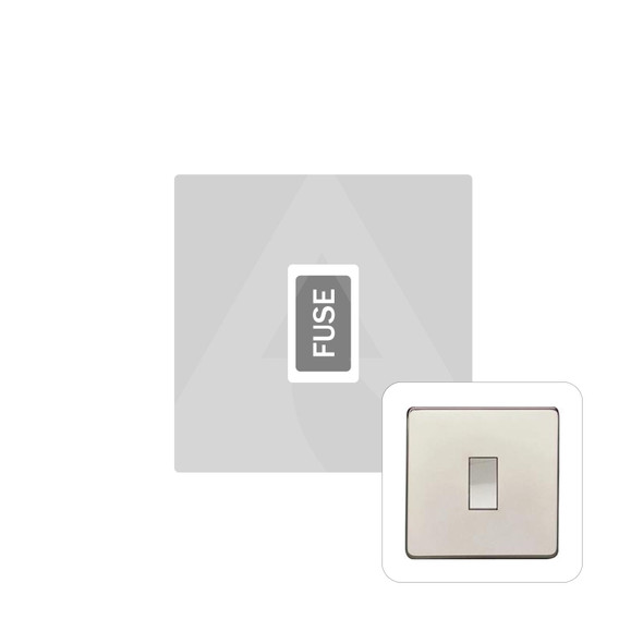 Studio Range Unswitched Spur (13 Amp) in Polished Nickel - White Trim - Y08.234.W