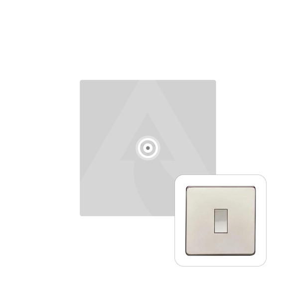 Studio Range 1 Gang Non-Isolated TV Coaxial Socket in Polished Nickel - White Trim - Y08.221.W