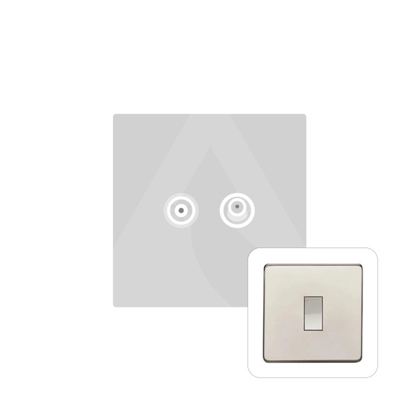 Studio Range TV/Satellite Socket in Polished Nickel - White Trim - Y08.226.W