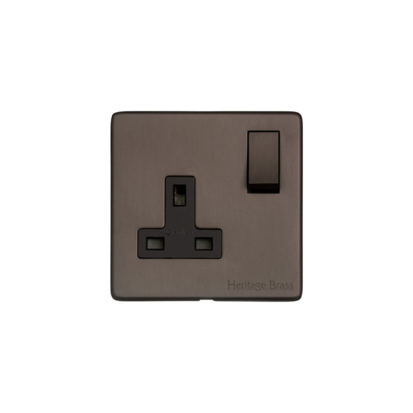 Studio Range Single Socket (13 Amp) in Matt Bronze - Black Trim - Y09.240.DBZ