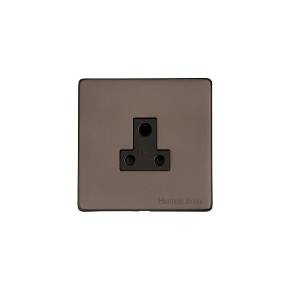 Studio Range 5 Amp 3 Round Pin Socket in Matt Bronze - Black Trim - Y09.282.BK
