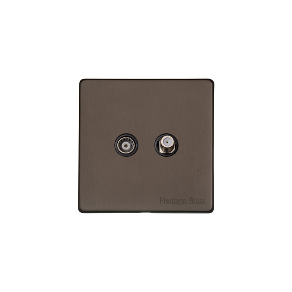 Studio Range TV/Satellite Socket in Matt Bronze - Black Trim - Y09.226.BK