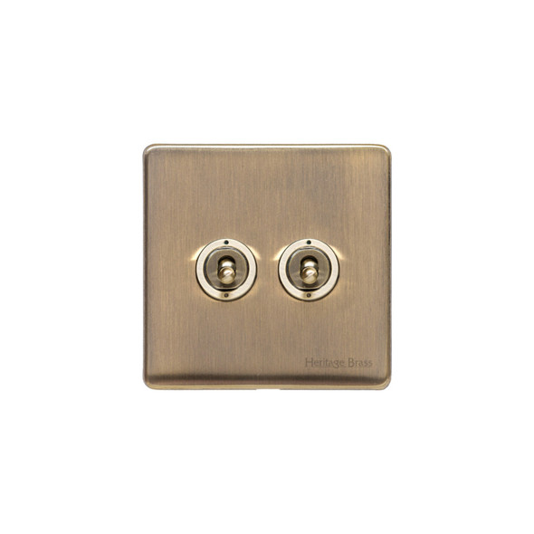 Studio Range 2 Gang Dolly Switch in Antique Brass - Trimless - Y91.2410.AB