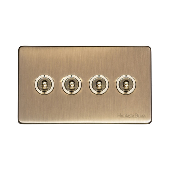 Studio Range 4 Gang Dolly Switch in Antique Brass - Trimless - Y91.2430.AB