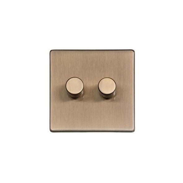 Studio Range 2 Gang Trailing Edge Dimmer in Antique Brass - Trimless - Y91.270.TED