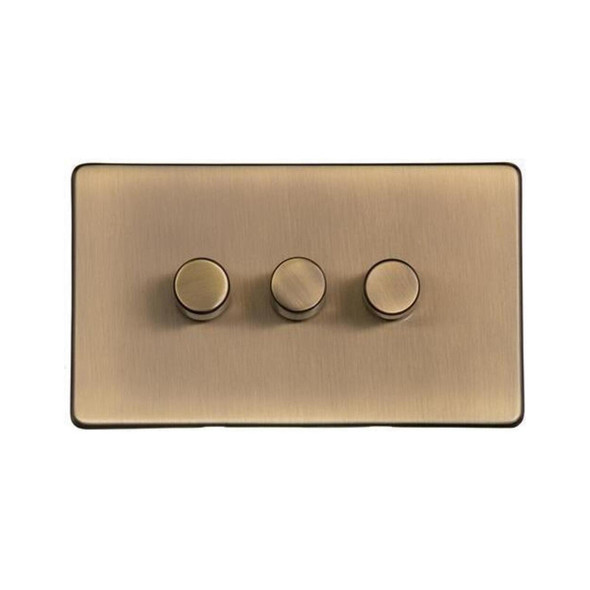 Studio Range 3 Gang Trailing Edge Dimmer in Antique Brass - Trimless - Y91.280.TED