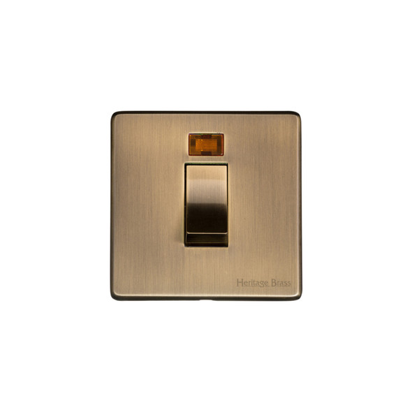 Studio Range 45A Switch with Neon (single plate) in Antique Brass - Trimless - Y91.263.AB