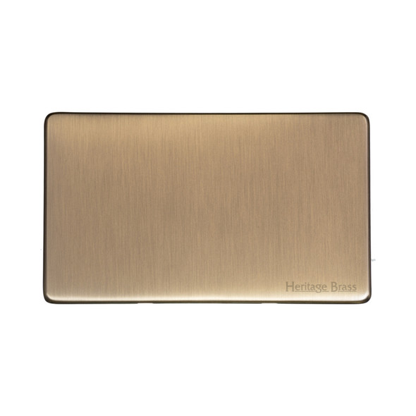 Studio Range Double Blank Plate in Antique Brass - Y91.232