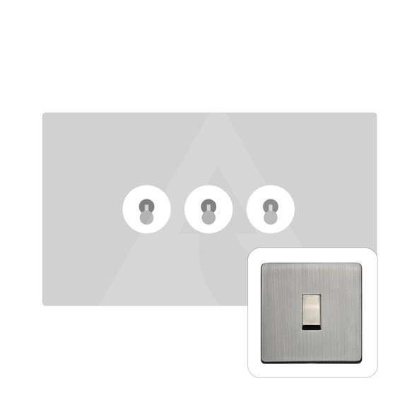 Studio Range 3 Gang Dolly Switch in Antique Pewter - Trimless - Y96.2420.PT
