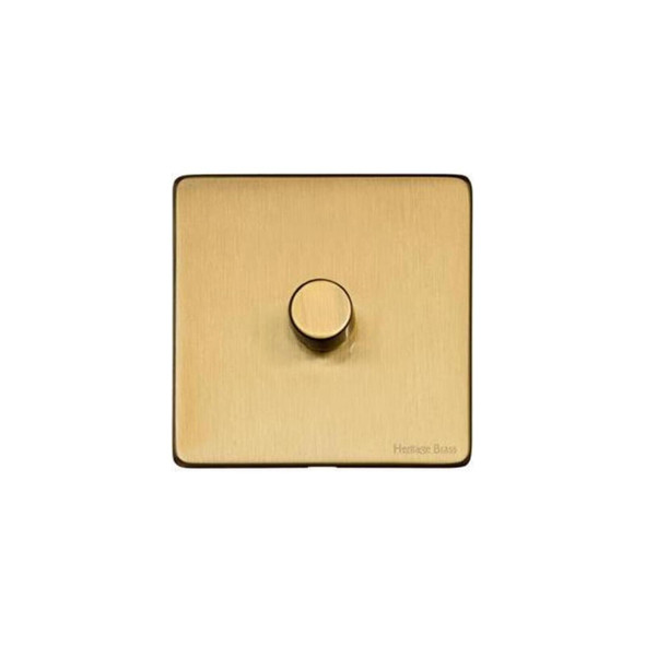 Studio Range 1 Gang Trailing Edge Dimmer in Satin Brass - Trimless - Y44.260.TED