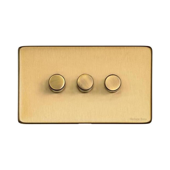 Studio Range 3 Gang Trailing Edge Dimmer in Satin Brass - Trimless - Y44.280.TED