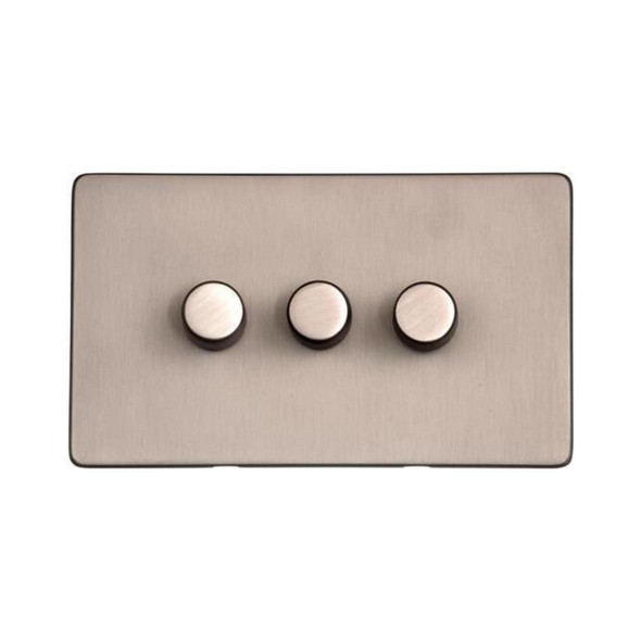 Studio Range 3 Gang Trailing Edge Dimmer in Aged Pewter - Trimless - YAP.280.TED