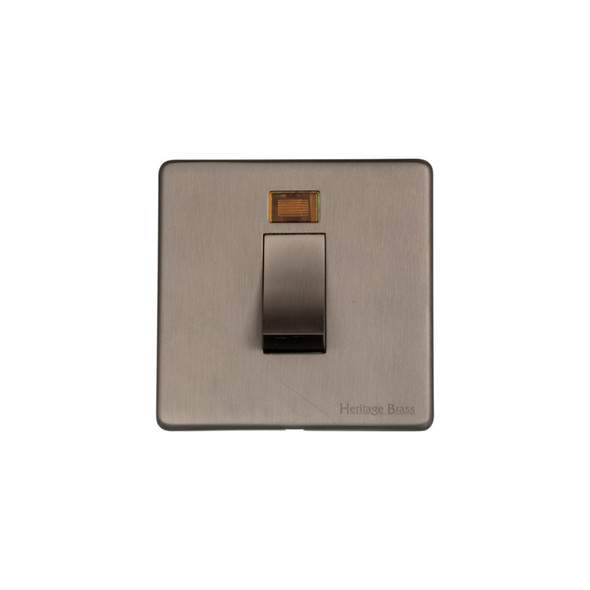 Studio Range 45A Switch with Neon (single plate) in Aged Pewter - Trimless - YAP.263.AP