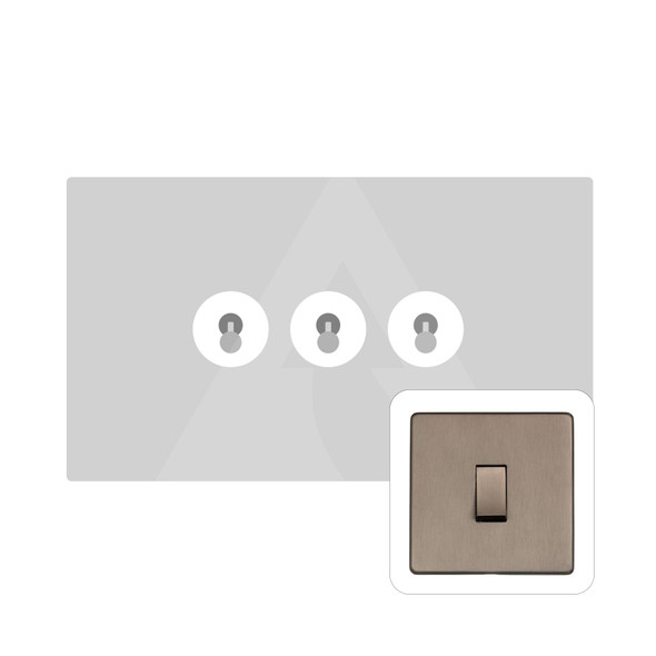 Studio Range 3 Gang Dolly Switch in Aged Pewter - Trimless - YAP.2420.AP