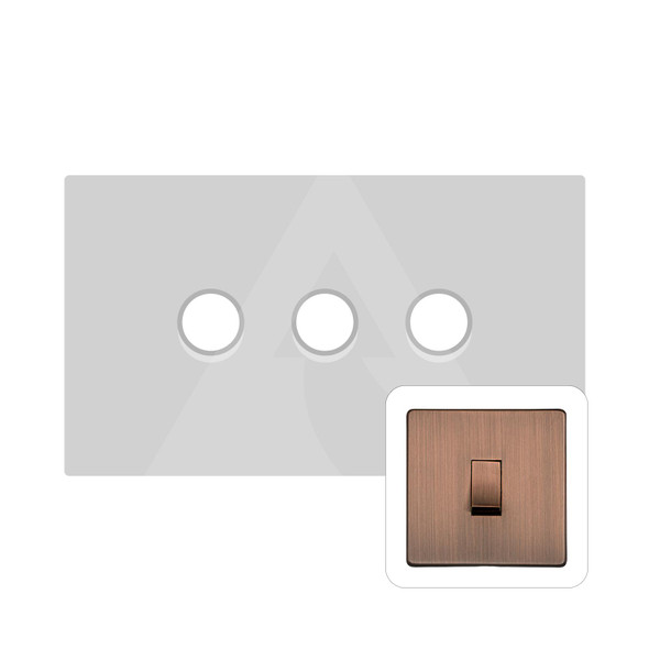 Studio Range 3 Gang Trailing Edge Dimmer in Antique Copper - Trimless - Y97.280.TED