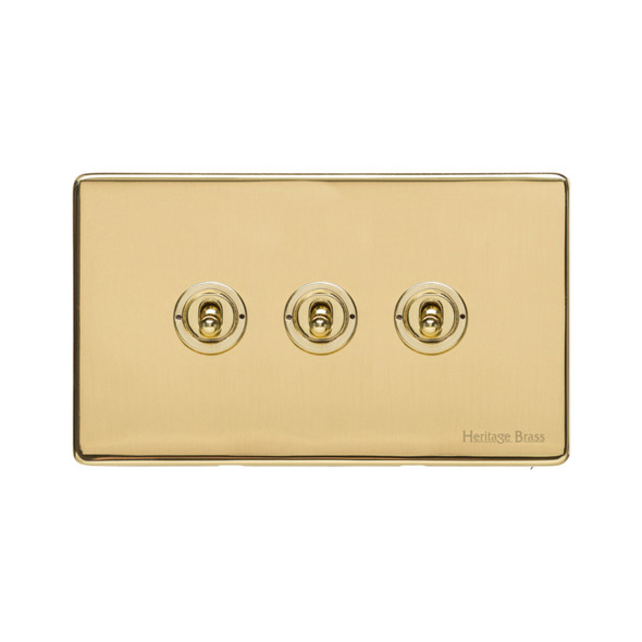 Vintage Range 3 Gang Dolly Switch in Polished Brass - X01.2420.PB