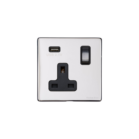 Vintage Range Single USB Socket (13 Amp) in Polished Chrome - Black Trim - X02.740.BK-USB