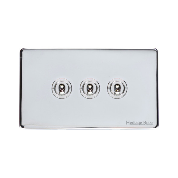 Vintage Range 3 Gang Dolly Switch in Polished Chrome - X02.2420.PC