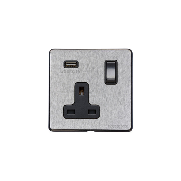 Vintage Range Single USB Socket (13 Amp) in Satin Chrome - Black Trim - X03.740.BK-USB