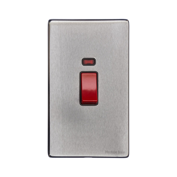Vintage Range 45A Switch with Neon (tall plate) in Satin Chrome - Black Trim - X03.161.BK
