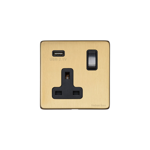 Vintage Range Single USB Socket (13 Amp) in Satin Brass - Black Trim - X44.740.BK-USB