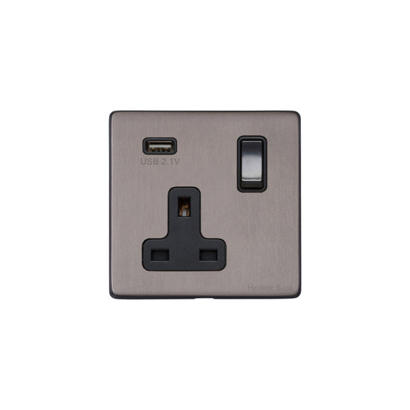 Vintage Range Single USB Socket (13 Amp) in Satin Black Nickel - Black Trim - X66.740.BK-USB