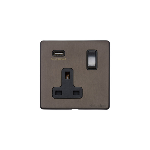 Vintage Range Single USB Socket (13 Amp) in Matt Bronze - Black Trim - X09.740.BK-USB