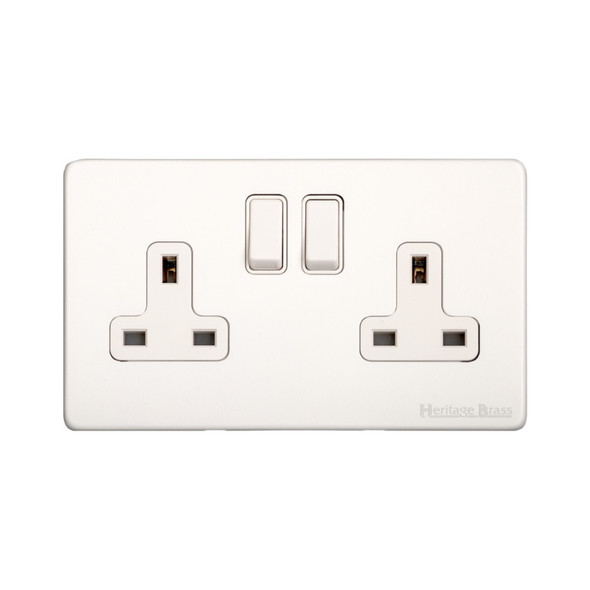Vintage Range Double Socket (13 Amp) in Matt White - White Trim - XWH.150.W