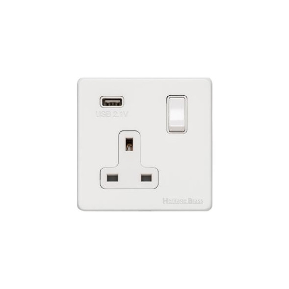 Vintage Range Single USB Socket (13 Amp) in Matt White - White Trim - XWH.740.W-USB
