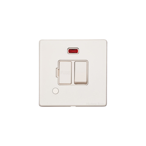 Vintage Range Switched Spur with Neon/Cord (13 Amp) in Matt White - White Trim - XWH.138.W
