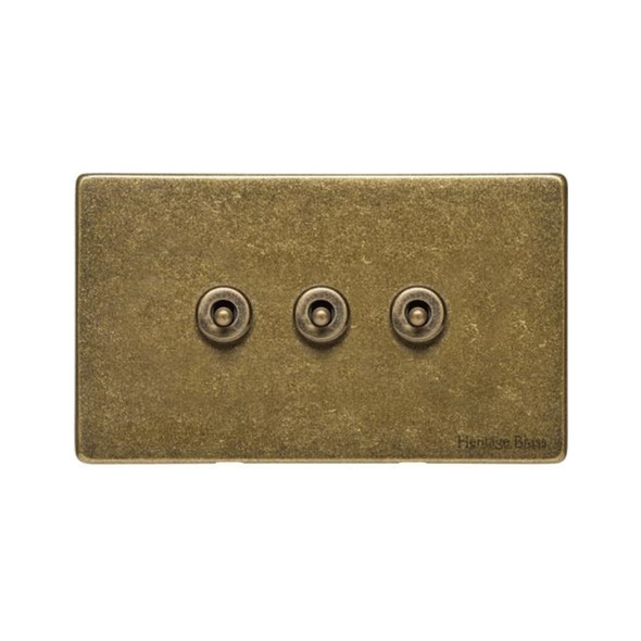Vintage Range 3 Gang Dolly Switch in Rustic Brass - XRB.2420.RB