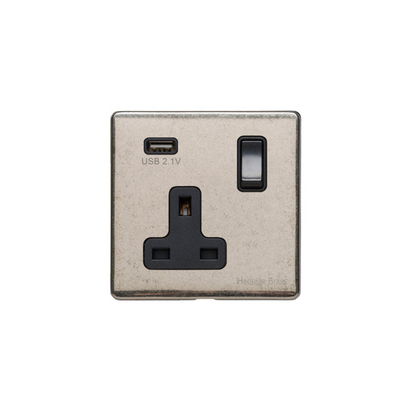 Vintage Range Single USB Socket (13 Amp) in Rustic Nickel - Black Trim - XRN.740.BK-USB