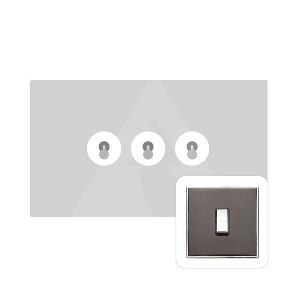 Executive Range 3 Gang Dolly Switch in Polished Black Nickel - Trimless - EX26.2420.PC