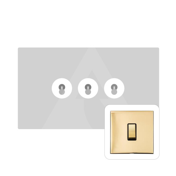 Winchester Range 3 Gang Dolly Switch in Polished Brass - Trimless - W01.2420.PB