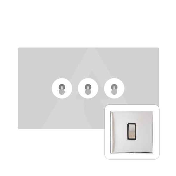 Winchester Range 3 Gang Dolly Switch in Polished Chrome - Trimless - W02.2420.PC