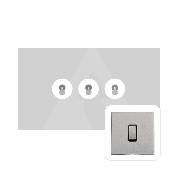Winchester Range 3 Gang Dolly Switch in Satin Chrome - Trimless - W03.2420.SC