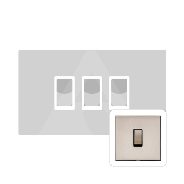 Winchester Range 3 Gang 10 Amp Switch (Double Plate) in Satin Nickel - White Trim - W05.520.SNW