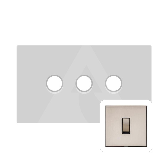 Winchester Range 3 Gang Trailing Edge Dimmer in Satin Nickel - Trimless - W05.580.TED