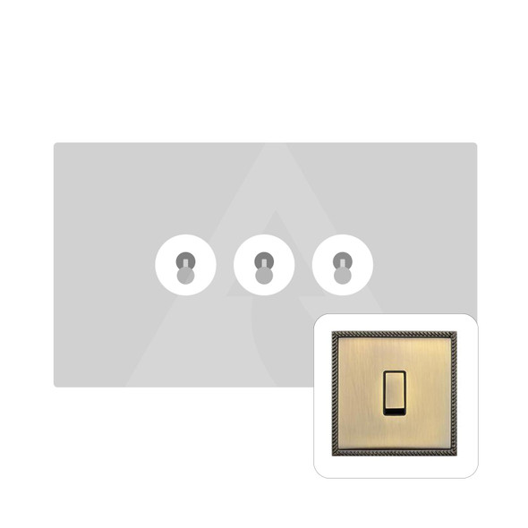 Gainsborough Range 3 Gang Dolly Switch in Antique Brass - Trimless - GF91.2420.AB
