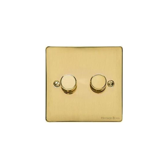 Elite Flat Plate Range 2 Gang Trailing Edge Dimmer in Polished Brass - Trimless - T01.972.TED