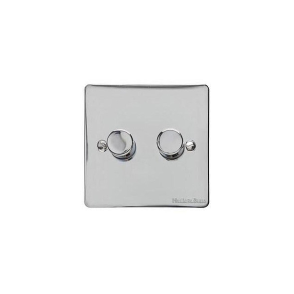 Elite Flat Plate Range 2 Gang Trailing Edge Dimmer in Polished Chrome - Trimless - T02.972.TED