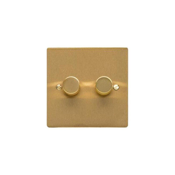 Elite Flat Plate Range 2 Gang Trailing Edge Dimmer in Satin Brass - Trimless - T04.972.TED