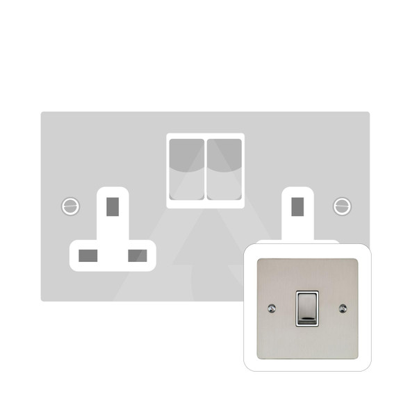 Elite Flat Plate Range Double Socket (13 Amp) in Satin Nickel - White Trim - T05.850.SNW