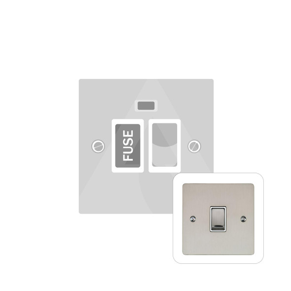 Elite Flat Plate Range Switched Spur with Neon (13 Amp) in Satin Nickel - White Trim - T05.836.SNW