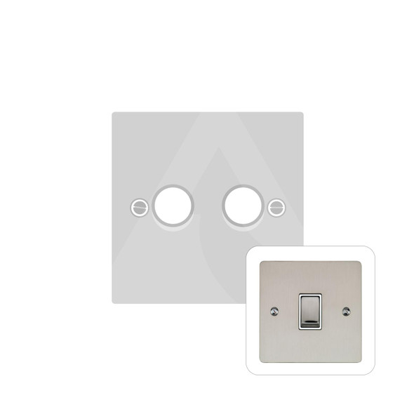 Elite Flat Plate Range 2 Gang Trailing Edge Dimmer in Satin Nickel - Trimless - T05.972.TED