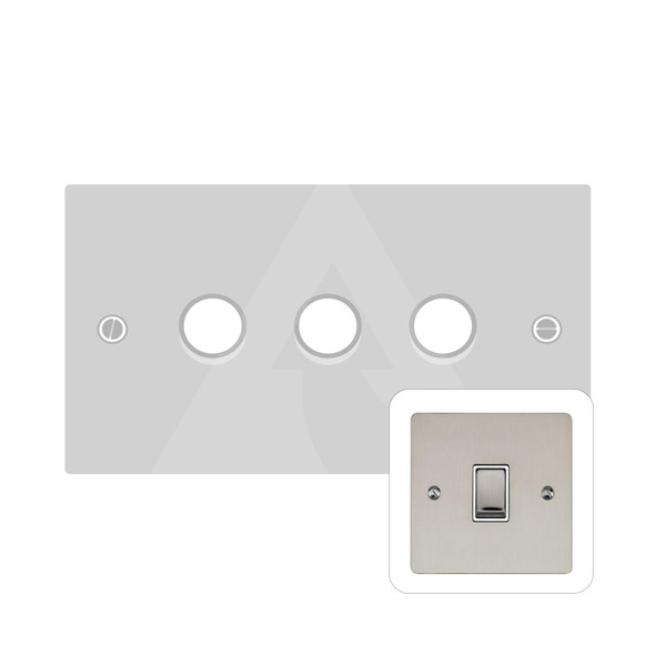 Elite Flat Plate Range 3 Gang Trailing Edge Dimmer in Satin Nickel - Trimless - T05.973.TED
