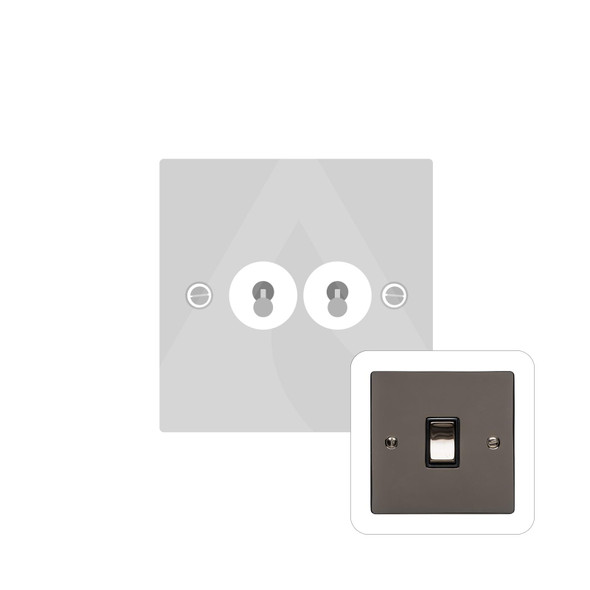 Elite Flat Plate Range 2 Gang Dolly Switch in Polished Black Nickel - Trimless - T06.1410.BN