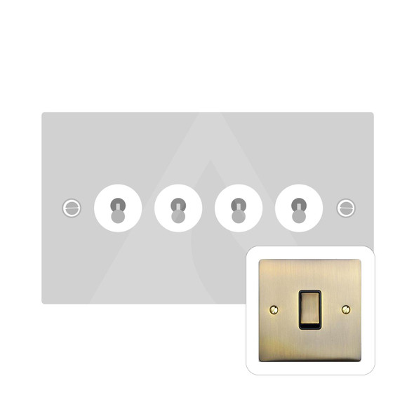 Elite Flat Plate Range 4 Gang Dolly Switch in Antique Brass - Trimless - T91.1430.AB